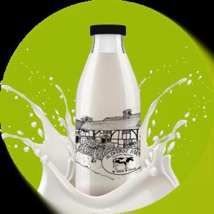 Aldhurst Farm milk bottle with green background