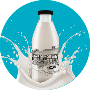 Aldhurst Farm milk bottle with blue background